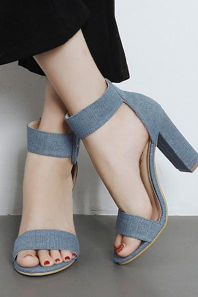 Open-Toe Buckle Ankle Strap Chunky Heels