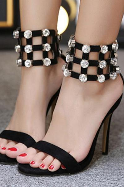 Rhinestone Shinning Open Toe Ankle Wraps Stiletto High Heels Sandals