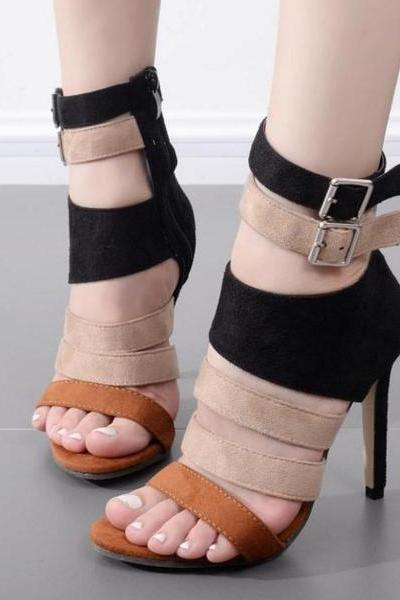 Roman Straps Ankle Wraps Open Toe Stiletto High Heels Sandals