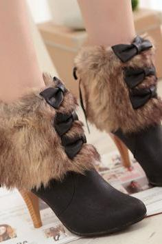 Bowknot Faux Fur Back Zipper Pointed Toe Stiletto High Short Boots
