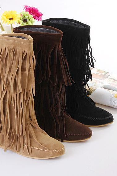 Tassels Round Toe Solid Color Flat Half Boots