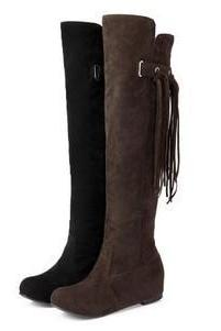 Round Toe Tassels Inside Heels Knee-length Long Boots