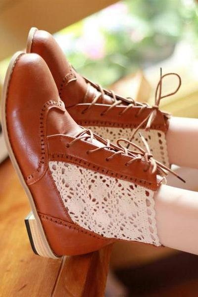 Lace Patchwork Hollow Out Round Toe Low Chunky Heel Short Boots