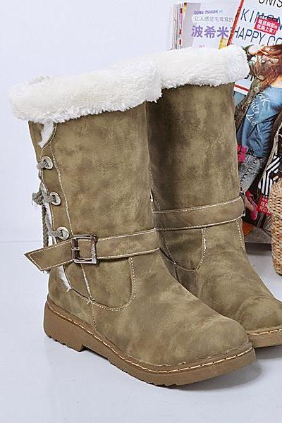 Warm Hasp Back Lace Up Round Toe Flat Half Boots