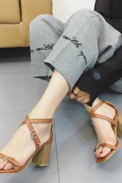 Straps Wrap Square Open Toe Chunky High Heels Sandals