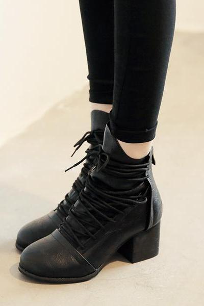 Straps Cross Lace UP Round Toe Chunky Low Heels Short Boots