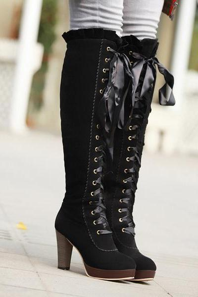 Straps Lace Up Pointed Toe Over-knee Long Boots