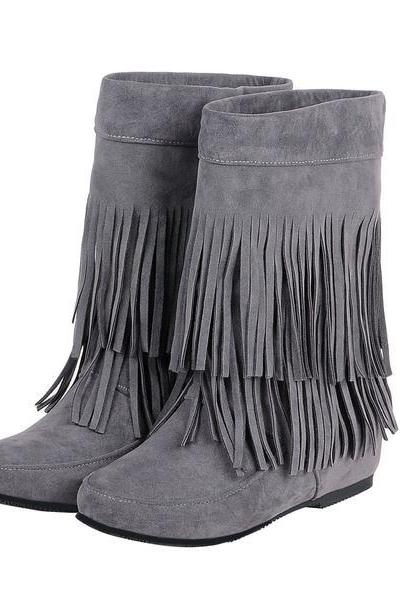 Solid Color Round Toe Tassels Inside Heels Half Boots