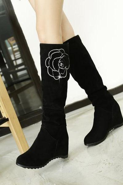 Flower Print Round Toe Inside Heels Knee-length Long Boots