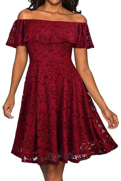 Elegant off Shoulder Short Sleeve Lace A-line Party Dress