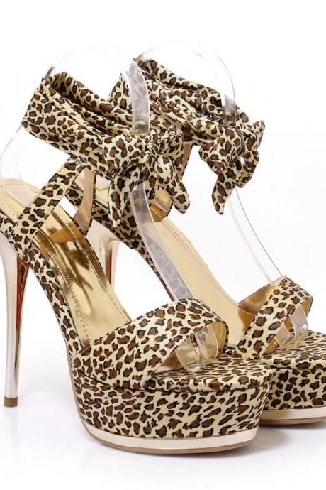 Leopard Open Toe Ankle Wraps Platform Stiletto High Heels Sandals
