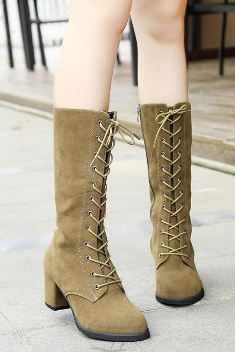 Round Toe Lace Up Chunky Low Heels Half Boots