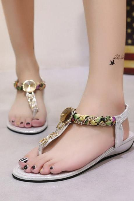 Rhinestone Bohemian Slip-one Ankle Wrap Flat Beach Sandals