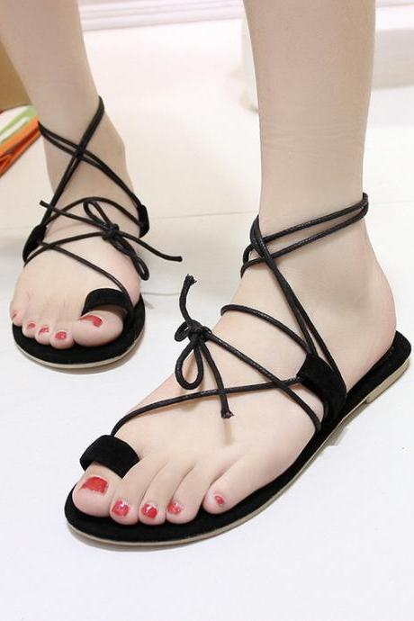 Faux Leather Lace-Up Flat Sandals Featuring Toe Loop Upper