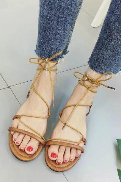 Faux Suede Lace-Up Flat Sandals
