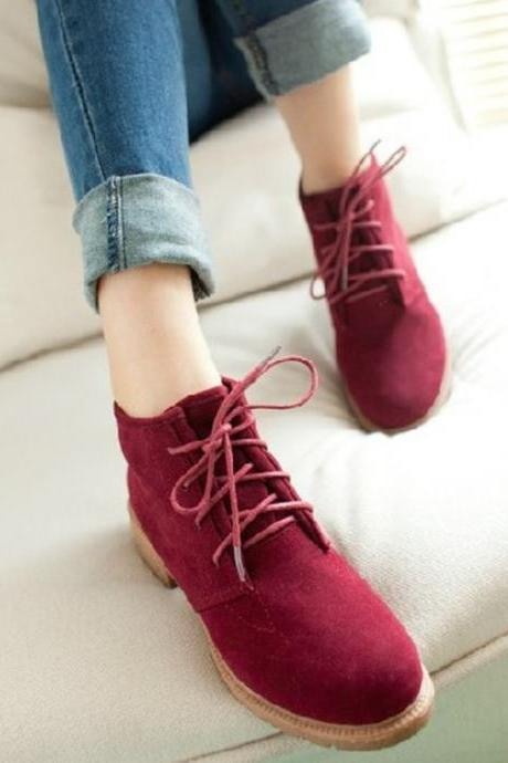 Lace Up Low Chunky Heels Short Boots Shoes