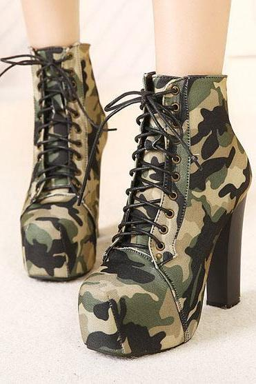 Army Green Camouflage Lace Up Chunky High Heels Short Boots
