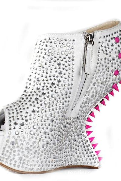 Unique Rhinestone Side Zipper Rivets Platform Short Boots Sandals