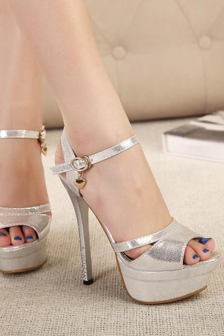 Platform Peep Toe Ankle Wrap Stiletto High Heels Sandals Club Shoes