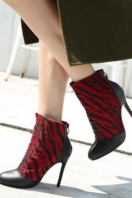 Patchwork Pointed Toe Loose Short Boots