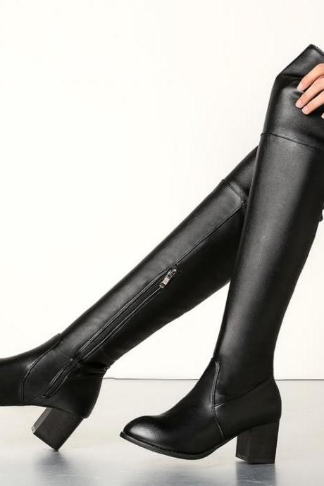 Pointed Toe Low Chunky Heels Side Zipper Overknee Long Boots