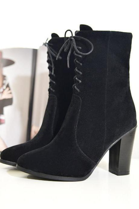 Faux Suede Lace-Up Pointed-Toe Mid-Calf Chunky Heel Boots