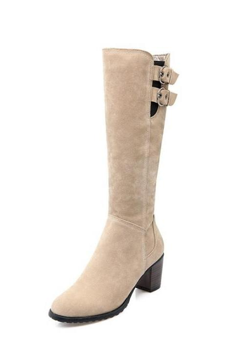 Hasp Solid Color Round Toe Low Chunky Heels Long Boots