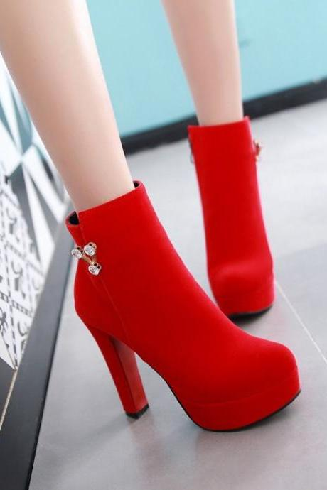 Solid Color Round Toe Crystal Decorate High Heels Short Boots