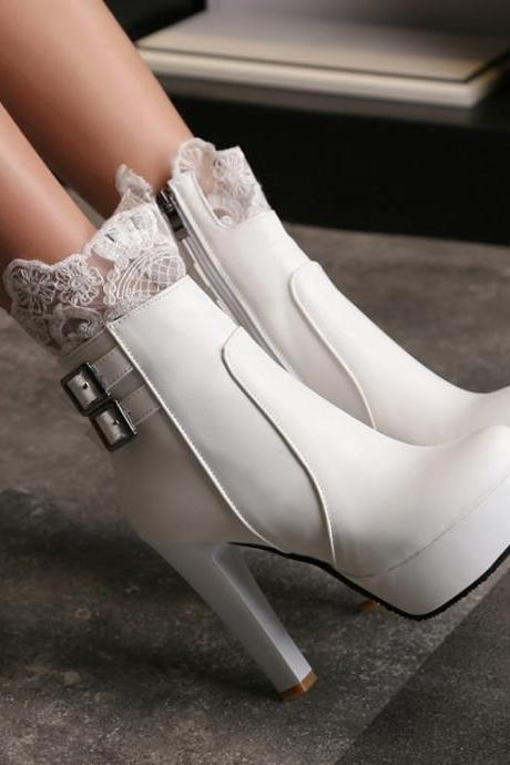 Lace Decorate Side Zipper Platform Stiletto High Heels Short Boots