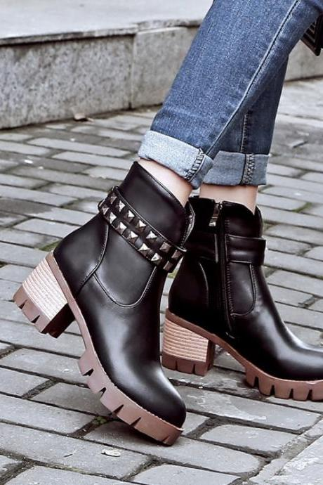 Rivets Side Zipper Round Toe Middle Chunky Heels Short Martin Boots