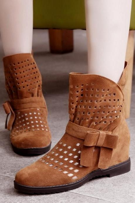 Cut Out Bowknot Decorate Flat Short Loose Boots