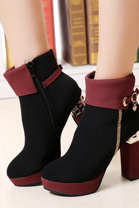 Patchwork Side Zipper High Chunky Heels Short Boots