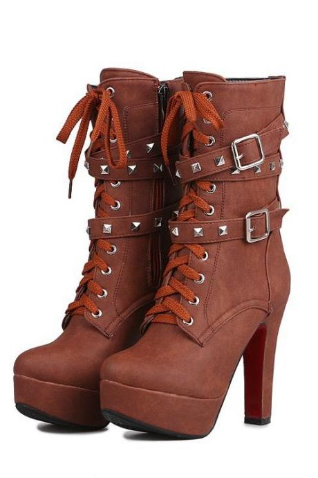 Rivets Straps Lace Up Round Toe Platform Stiletto High Heels Half Martin Boots