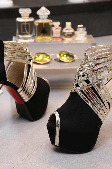 Straps Cross Peep Toe Platform High Stiletto Heels Club Shoes