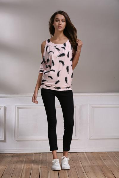 Bear Shoulder Print Half Sleevse Loose T-shirt