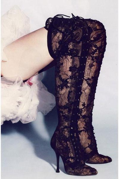 Lace Transparent Pointed Toe Stiletto High Heels Over-knee Long Boots