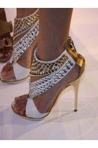 Crystal Rivets Open Toe Back Zipper High Stiletto Heels Sandals