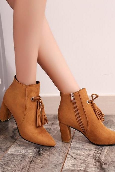 Tassels Side Zipper Pure Color Round Toe Chunky Heels Short Boots