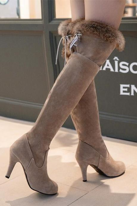 Round Toe Faux Fur Edge Middle Stiletto Heels Knee-length Long Boots
