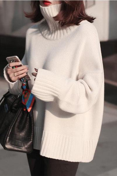 Solid Color Loose High Neck Knit Pullover Sweater