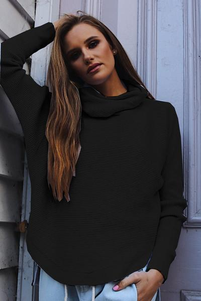 Irregular Hemline High Neck Loose Solid Color Sweater