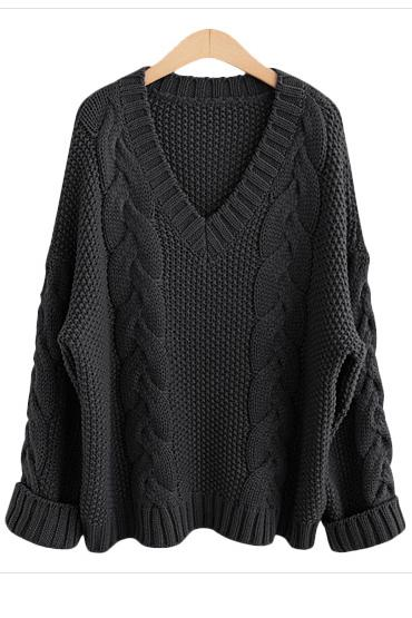 Cable Knit Deep V-neck Solid Color Pullover Sweater