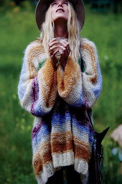 Colorful Stripe Long Lantern Sleeves Long Sweater