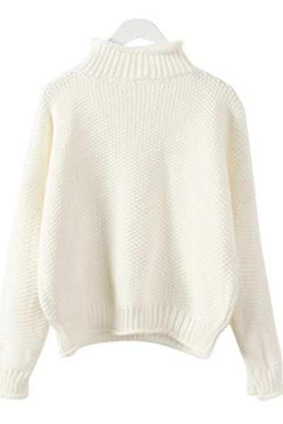 Knitted High Neck Long Cuffed Sleeves Sweater