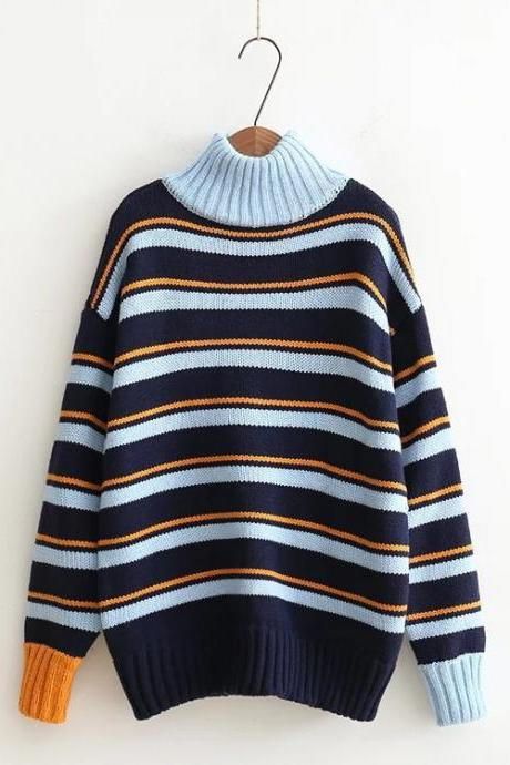 Stripes High Neck Patchwork Loose Pullover Sweater