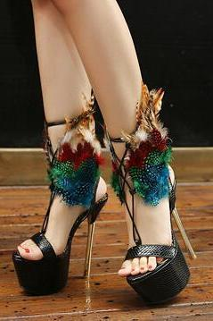 Feather Embellished Open Toe Strappy Leather High Heels