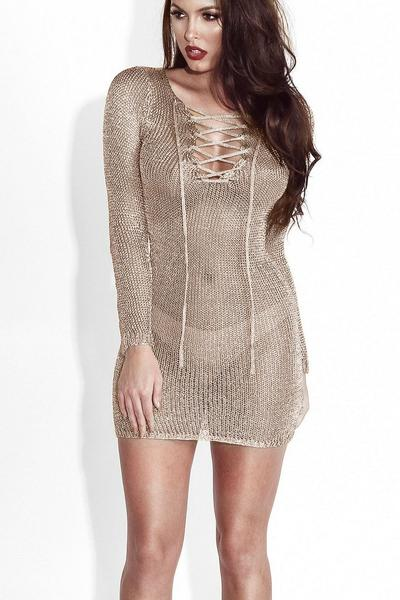 Transparent Mesh Deep V-neck Cross Long Sleeves Short Dress