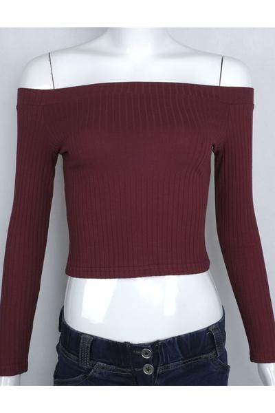 Ribbed Knit Off-The-Shoulder Long Sleeves Cropped Top
