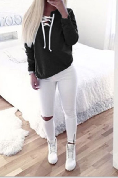 Pure Color Round Lace Up Long Sleeves Sweatshirt