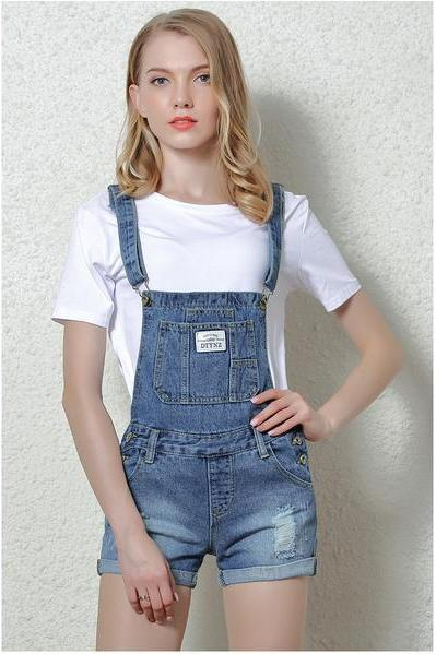 Denim Button Casual Pocket hole Gradient color Romper